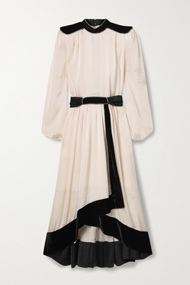 Philosophy di Lorenzo Serafini Belted Embellished Velvet-trimmed Satin Midi Dress - Ivory