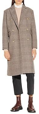 Sandro Laina Checked Double Breasted Coat