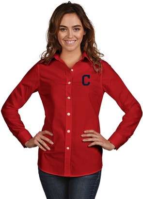 Antigua Women's Cleveland Indians Dynasty Button-Down Shirt