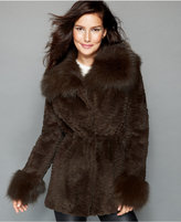 The Fur Vault Fox-Trimmed Sheared Rabbit Fur Parka
