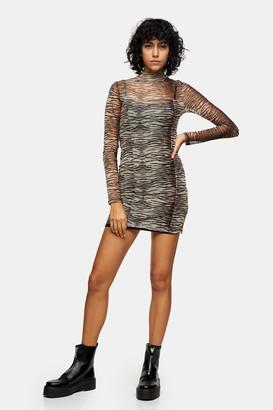 Topshop Womens Animal Print Mesh Mini Bodycon Dress - Brown