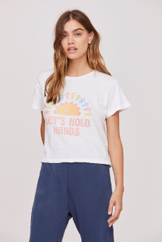LnA The Lets Hold Hands Tee In Lily White - XS