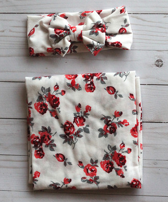 3.1 Phillip Lim The Tiny Blessings Boutique Girls' Headbands Multi - 31'' x 31'' Red & Gray Floral Swaddling Blanket & Headband
