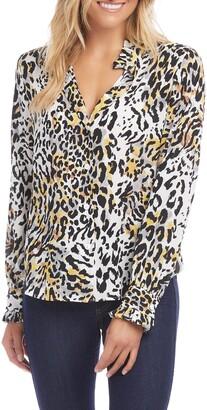 Karen Kane Leopard Print Ruffle Trim Top