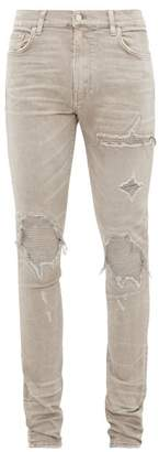 Amiri Mx1 Canvas Panel Distressed Skinny Leg Jeans - Mens - Grey