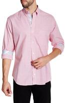 Tailorbyrd Fuschia Long Sleeve Striped Woven Shirt