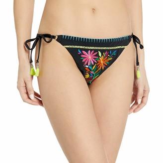 Nanette Lepore Women's Side Tie Embroidered Bikini Swimsuit Bottom