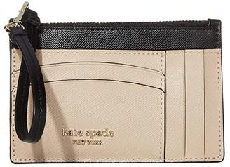 Kate Spade Spencer Card Holder Wristlet (Warm Beige/Black) Wallet