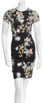 Erdem Leather-Trimmed Floral Dress