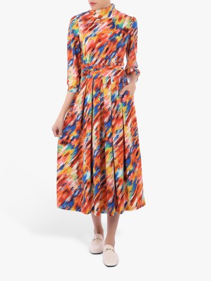 Jolie Moi Three-Quarter Sleeve Print Jersey Midi Dress, Orange Multi