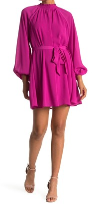 A.Calin Mock Neck Long Sleeve Tie Mini Dress
