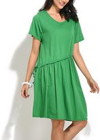 Everest Green Diagonal-Drawstring T-Shirt Dress - Plus Too