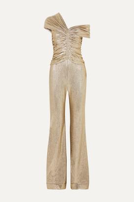 Jonathan Simkhai One-shoulder Ruched Plisse-lame Jumpsuit - Silver