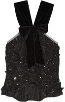 Oscar de la Renta Velvet-trimmed Embellished Guipure Lace Peplum Top - Black