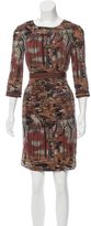 Philosophy di Alberta Ferretti Wool Forest Print Dress