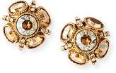 Oscar de la Renta Classic Crystal Button Earrings