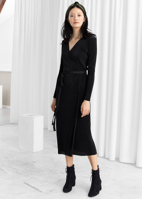 And other stories Plisse Pleated Wrap Dress