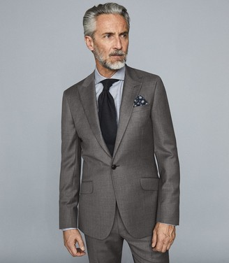 Reiss Bologna - Wool Slim Fit Blazer in Grey