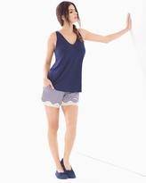 Soma Intimates Cool Nights Tank/Shorts Pajama Set Stocking Stripe Navy