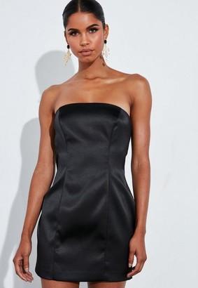 Missguided Black Satin Structured Curve Mini Dress