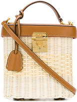 Mark Cross straw and leather box bag