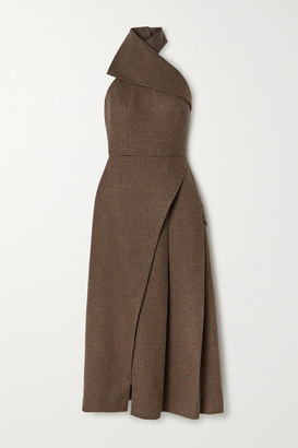Brandon Maxwell Draped Checked Wool Halterneck Midi Dress - Brown