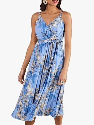 Yumi Butterfly Print Pleated Midi Dress, Blue/Multi