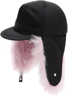 Prada NYLON HAT W/ MOHAIR LINING