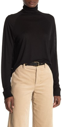 Vince Ribbed Cuff Turtleneck Knit Top