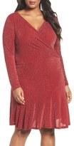 MICHAEL Michael Kors Plus Size Women's Shimmer Knit Faux Wrap Flounce Dress
