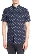Topman Men's Trim Fit Short Sleeve Zebra Print Shirt
