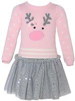 Bonnie Jean Little Girls Pink Reindeer Applique Sweater Skirt Outfit