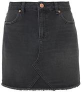 Mint Velvet Raw Hem Denim Mini Skirt, Black