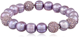 """Honora Pop Star"""" Violet Freshwater Cultured Pearl and Pave Bead Stretch Bracelet 7.5"""""""