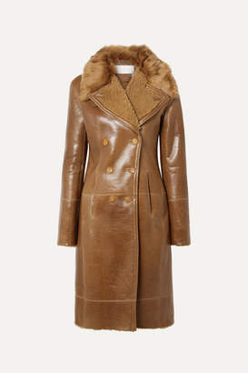 Chloé Double-breasted Glossed-shearling Coat - Brown
