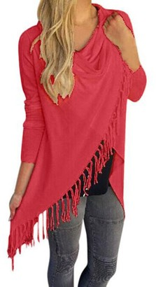 VJGOAL Womens Autumn New Shawl Tops Knitted Fringed Pullover Waterfall Cardigan Poncho Cape Coat Shirt Slash Gradient Shawl Hem Fringe Blouse Hoodie(XXX-Large