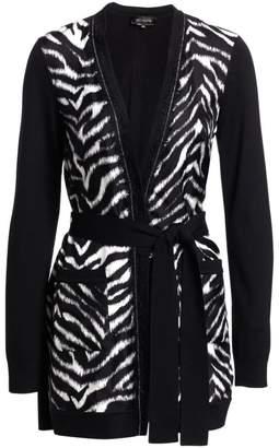 St. John Fine Wool & Silk Zebra Cardigan