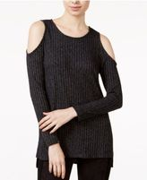 Kensie Ribbed Cold-Shoulder Sweater
