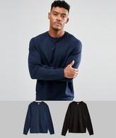 Asos Sweatshirt 2 Pack Black/ Navy SAVE