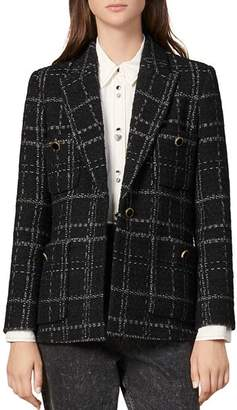 Sandro Jalou Windowpane Plaid Blazer