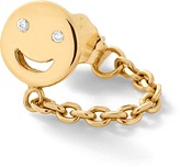 Alison Lou Happy Face Huggie Stud With Chain