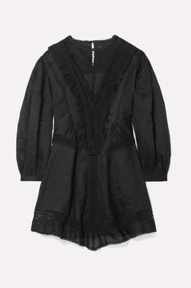 Isabel Marant Rowina Crochet-trimmed Ramie Dress - Black