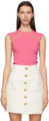 Balmain Pink Knit Button Tank Top