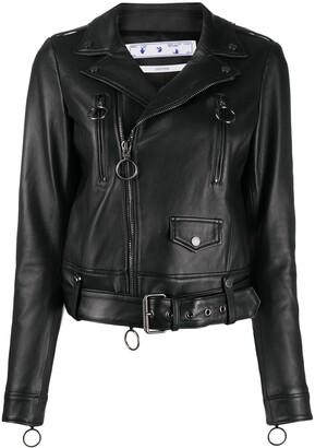 Off-White Off-Centre Zip Biker Jacket