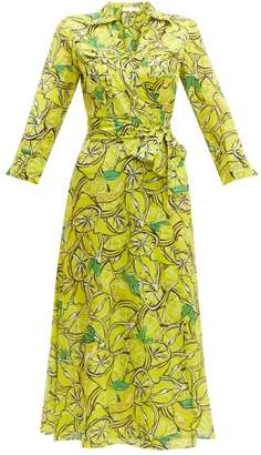 Diane von Furstenberg Lemon-print Cotton-blend Wrap Dress - Womens - Yellow Multi