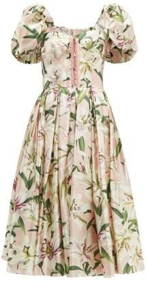 Dolce & Gabbana Floral Print Silk Shantung Bustier Dress - Womens - Pink Multi