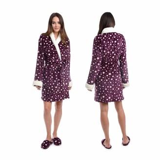 Body Candy Women's Luxurious Soft Plush Bathrobe with Slippers Set Burgundy/Gray/Navy