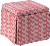 Skyline Furniture Anne Skirted Ottoman, Pink Jetty Stripe