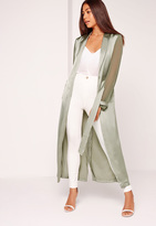 Missguided Two Tone Satin Chiffon Belted Duster Coat Green