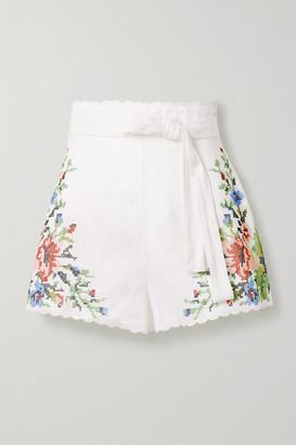 Zimmermann Juliette Belted Scalloped Embroidered Linen Shorts